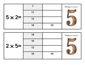 Multiplication Flip and Clip Game Cards x5