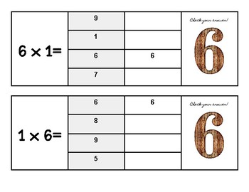 Multiplication Flip and Clip Game Cards x6