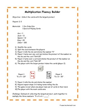 Multiplication Fluency Game with Cards and Dice - Math Centers