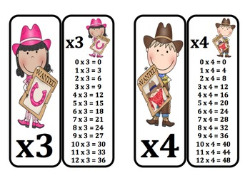 Multiplication Fact Rings (Cowboy & Cowgirl Themed)
