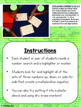 Multiplication Fluency Number Search FREEBIE