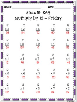 Multiplication Fluency Practice: Multiply by 12