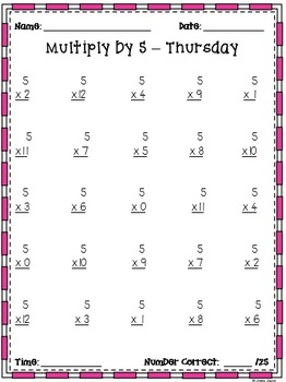 Multiplication Fluency Practice: Multiply by 5
