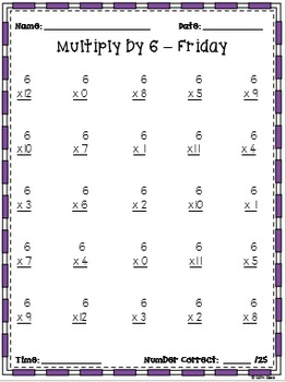 Multiplication Fluency Practice: Multiply by 6
