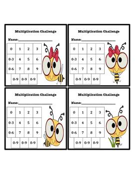Multiplication Fluency Progress Chart (Bee Themed)