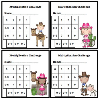Multiplication Fluency Progress Chart Cowboy Cowgirl Themed Tpt