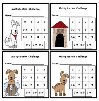 Multiplication Fluency Progress Chart (Dog Themed)