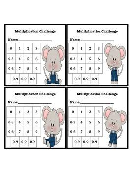 Multiplication Fluency Progress Chart (Mouse Themed)