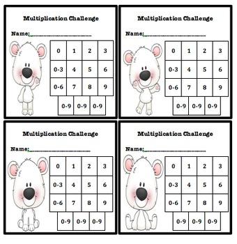 Multiplication Fluency Progress Chart (Polar Bear Themed)