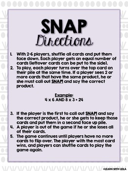 Multiplication Fluency SNAP Game (Products 2-24)