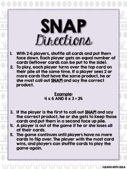Multiplication Fluency SNAP Game (Products 25-54)