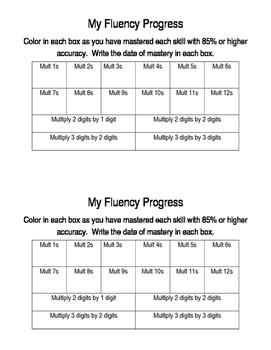 Multiplication Fluency Student Tracking Sheet