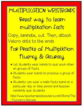 Multiplication Facts Fluency Wristbands
