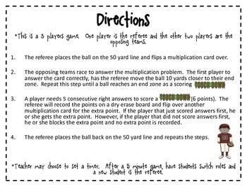 Multiplication Football {Common Core Activity}