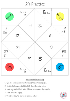 Multiplication Fortune Tellers 0,1,2 - Basic Facts Practice