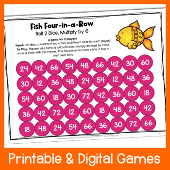 photograph about Multiplication Games Printable named Multiplication 4-within-a-Row: Printable Math Game titles for Multiplication in the direction of 12 x 12