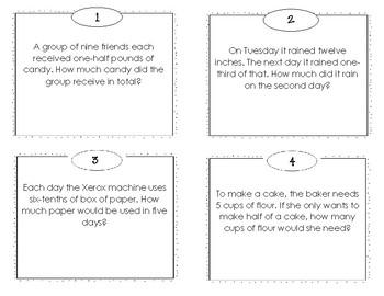 Multiplication Fraction Word Problems Task Cards