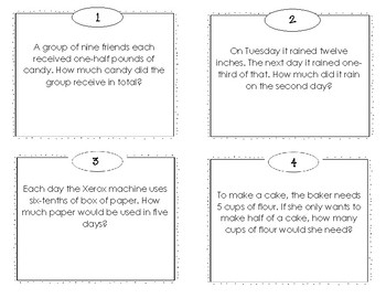Multiplication Fraction Word Problems Task Cards