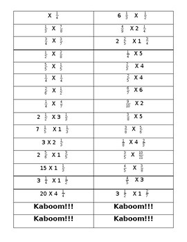 Multiplication (Fractions/Mixed Numbers) KABOOM!