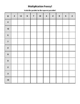 Multiplication Frenzy! Math Worksheet