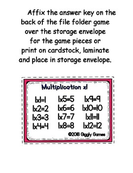 Multiplication Fun x1 Number Bonds Envelope Center
