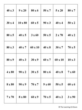 Multiplication Game- 1-digit by multiples of 10