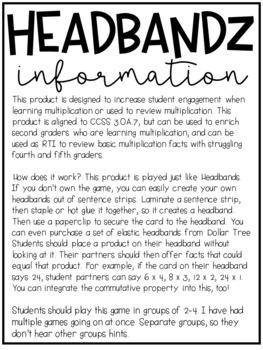 Multiplication Headbands