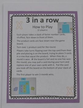 Multiplication Game - 3 in a Row