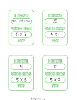 Multiplication Game 4's and 5's