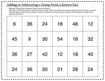 Multiplication Game: Adding or Subtracting a Group from a Known Fact