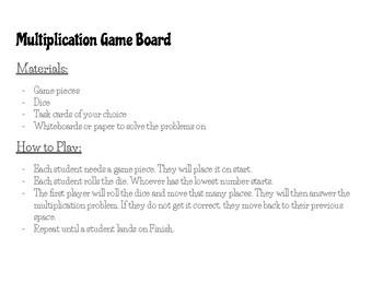 Multiplication Game Board