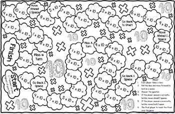 Multiplication Game Board for X10 Facts