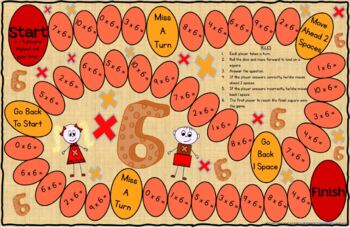Multiplication Game Board for X6 Facts