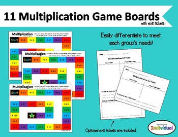 Multiplication Game Boards 0-10 with exit tickets