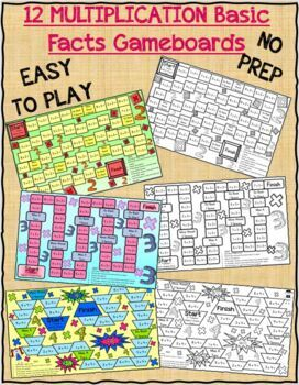 Multiplication Game Boards for X2, X3, X4, X5, X6, X7, X8, X9, and X10 Facts