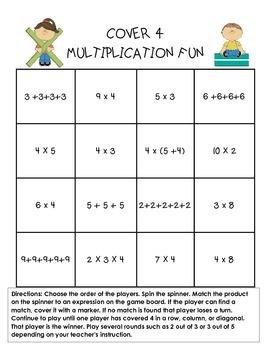 Multiplication Game Cover 4 Spinner Game