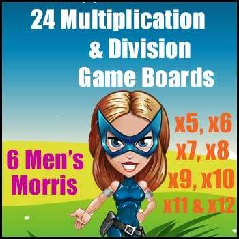 Multiplication Game & Division Game in One - 6 Men's Morri
