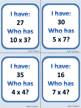 Multiplication Game       I have......   Who has......?