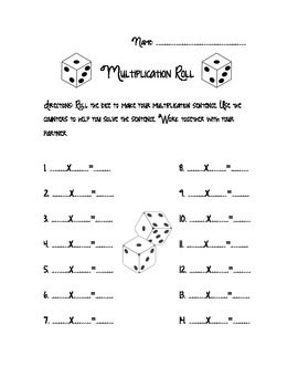 Multiplication Game- Multiplication Roll