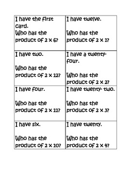 "Multiplication Game Pack- "" I have, who has"""