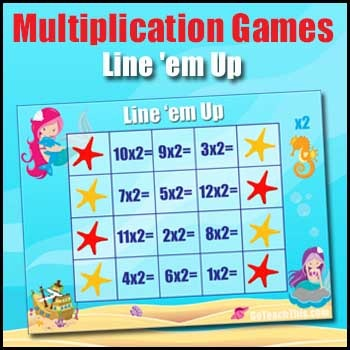 MULTIPLICATION GAME - Line 'em Up - 2x to 12x Times Tables Game
