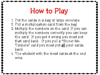 """Multiplication Game- """"Shiver Me Timbers"""""""