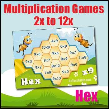 Multiplication Game - HEX - 2x Table to 12x Table - with Smartboard Version