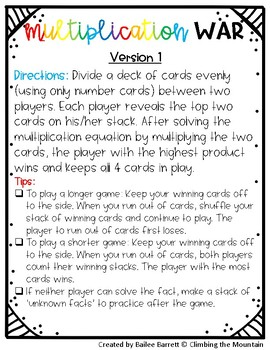 Multiplication Games- War and Dice