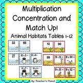 Multiplication Games- Multipication Concentration - Animal Habitats!