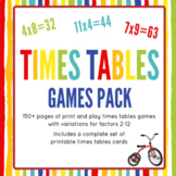 Printable Times Tables Games Pack: Factors 2x to 12x