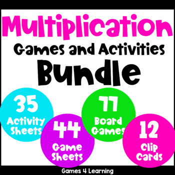 Multiplication Games and Activities Bundle for Multiplication Facts Fluency