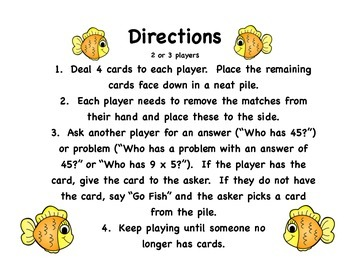 Multiplication Go Fish 3's - Print, cut, and play