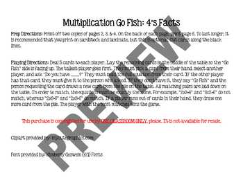 Multiplication Go Fish - 4's Facts