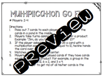 Multiplication Go Fish Card Game